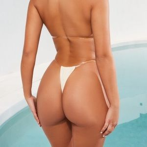 Skinny dipping clear strap micro bikini bottoms